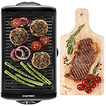 Chefman Electric Smokeless Indoor Grill - Large Griddle w/Non-Stick Cooking Surface and Adjustable Temperature Knob from Warm to Sear Customized Grilling, Dishwasher Safe Removable Drip Tray, Black