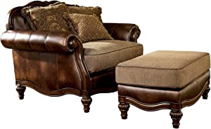 Ashley Furniture Signature Design - Claremore Chair and a Half with 1 Accent Pillow - Grand Elegance - Brown