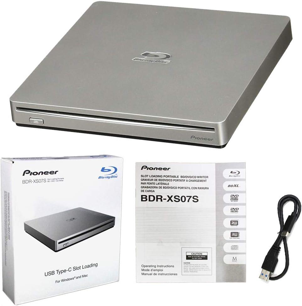 Pioneer BDR-XS07S Portable 6X Blu-ray Burner External Drive with USB Cable - Burns CD DVD BD DL BDXL Discs