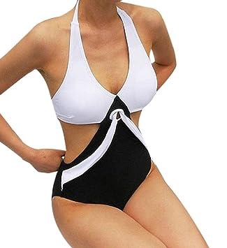 20d5cd840d65 Bademode Damen Yesmile Frauen Bademode Schwarz Einteilig Schwimmanzug  Beachwear Schulterfrei Monokini Badeanzug Bikini Gepolsterter Push Up