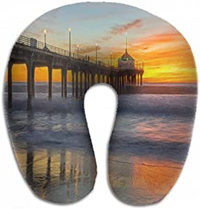 Emvency U-Shaped Travel Neck Support Pillow Sun Setting Over Manhattan Beach Airplane 12x11.5 Inch Soft U-Pillows with Rebound Material for Kids Adults