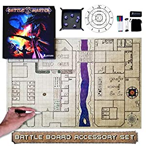 "Battle Master Grid Game Mat Set 36"" x 24"" Dungeons and Dragons Starter Set, Perfect Players of DND & Other Great RPG. Tabletop Gaming Board Map Accessory Include Dry Erase Markers Dice Tray"