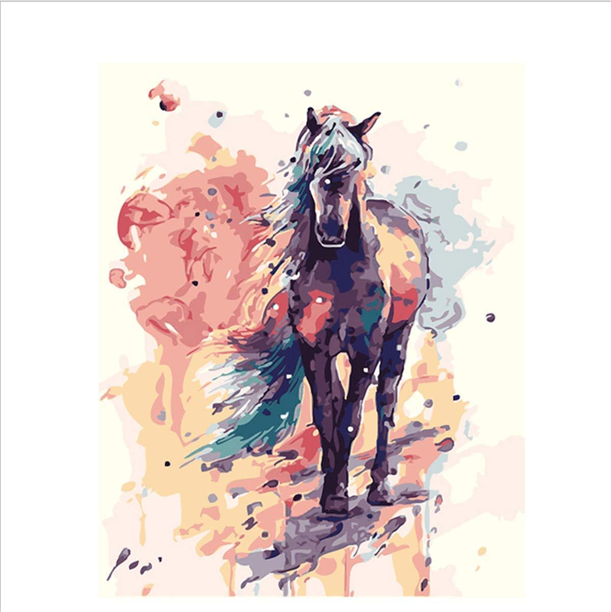 KUNLEE Pintura Digital DIY Set de Pintura para niños Adultos Ropa de Lino Ropa de casa decoración Principiante Negro Caballo Animal 40 * 50CM (sin Marco)