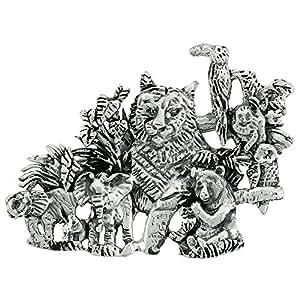 Sterling Silver Jungle Animals Brooch Pin, 1 3/4 inch