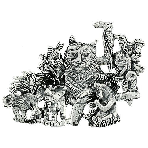 Sterling Silver Jungle Animals Brooch Pin, 1 3/4 inch