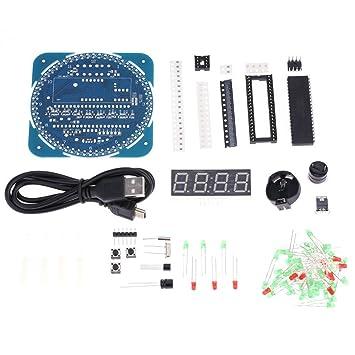 kkmoon compacto de 4 dígitos DIY DS1302 Digital giro Introdujo electrónica reloj kit tarjeta Temperatura Fecha Tiempo Aprendizaje: Amazon.es: Bricolaje y ...