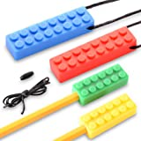 Sensory Chew Necklace Set (2 Pack+2 Bonus Chewable Pencil Topper & Cord+Clasp) for Boys & Girls with Autism, ADHD, SPD, Oral Motor Teething & Biting Needs by YAFANG
