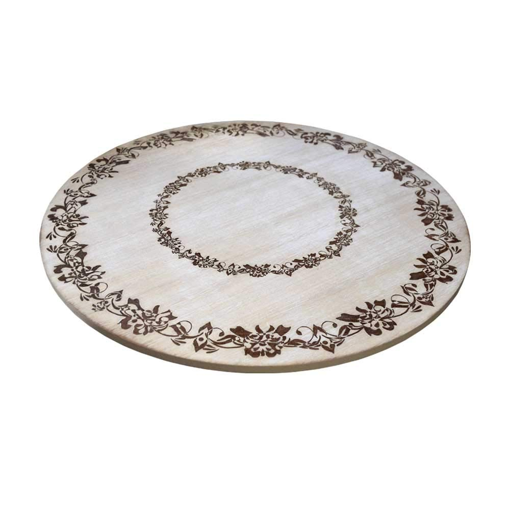 gbHome GH-6747 Premium Engraved Wood Tabletop Lazy Susan, 18 x 18 x 1