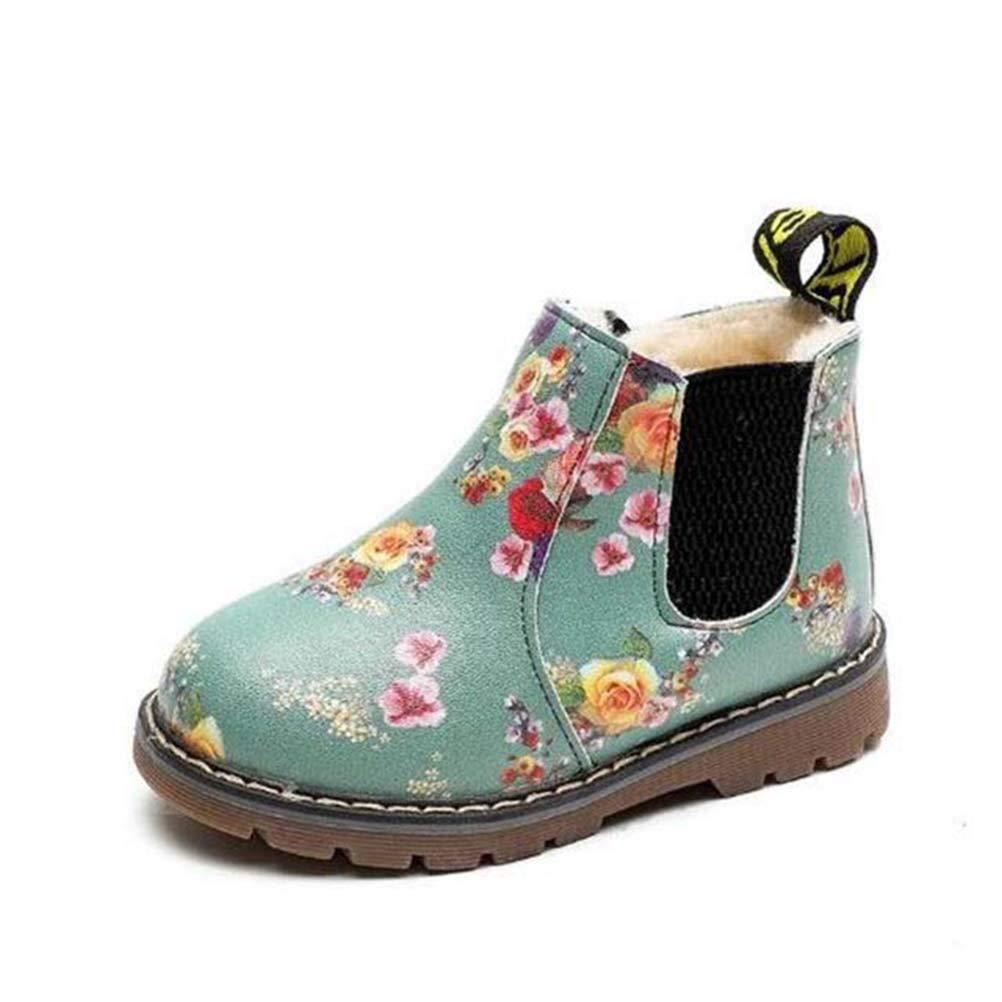 YISUGAR Baby Kids Martin Boots Fur Girl Boy PU Leather Waterproof Zipper Shoes Winter Snow Booties