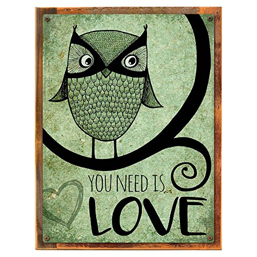 Wood-Framed Green OWL You Need is Love Metal Sign