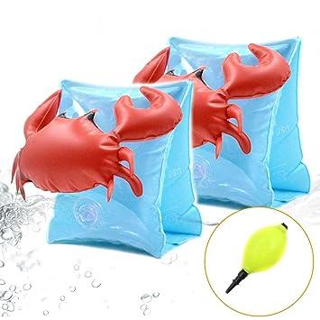 Brazaletes de natación, anillo de brazo de natación, Paquete de 2, flotadores inflables de natación para niños para actividades de playa o piscina: ...