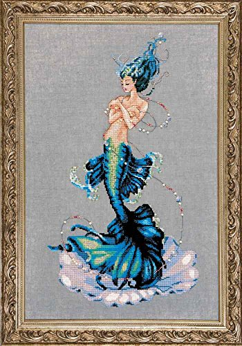 Aphrodite Mermaid LINEN Kit Beaded Counted Cross Stitch by N