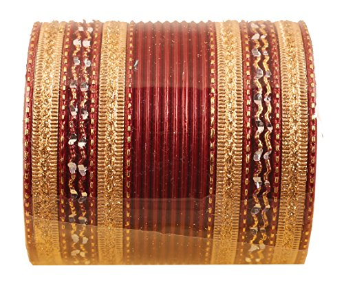 Antique Gold Bangles - Touchstone New Colorful 2 Dozen Bangle Collection Indian Bollywood Alloy Metal Textured Maroon and Golden Color Special Large Size Bangle Bracelets Set of 24. in Antique Gold Tone for Women.