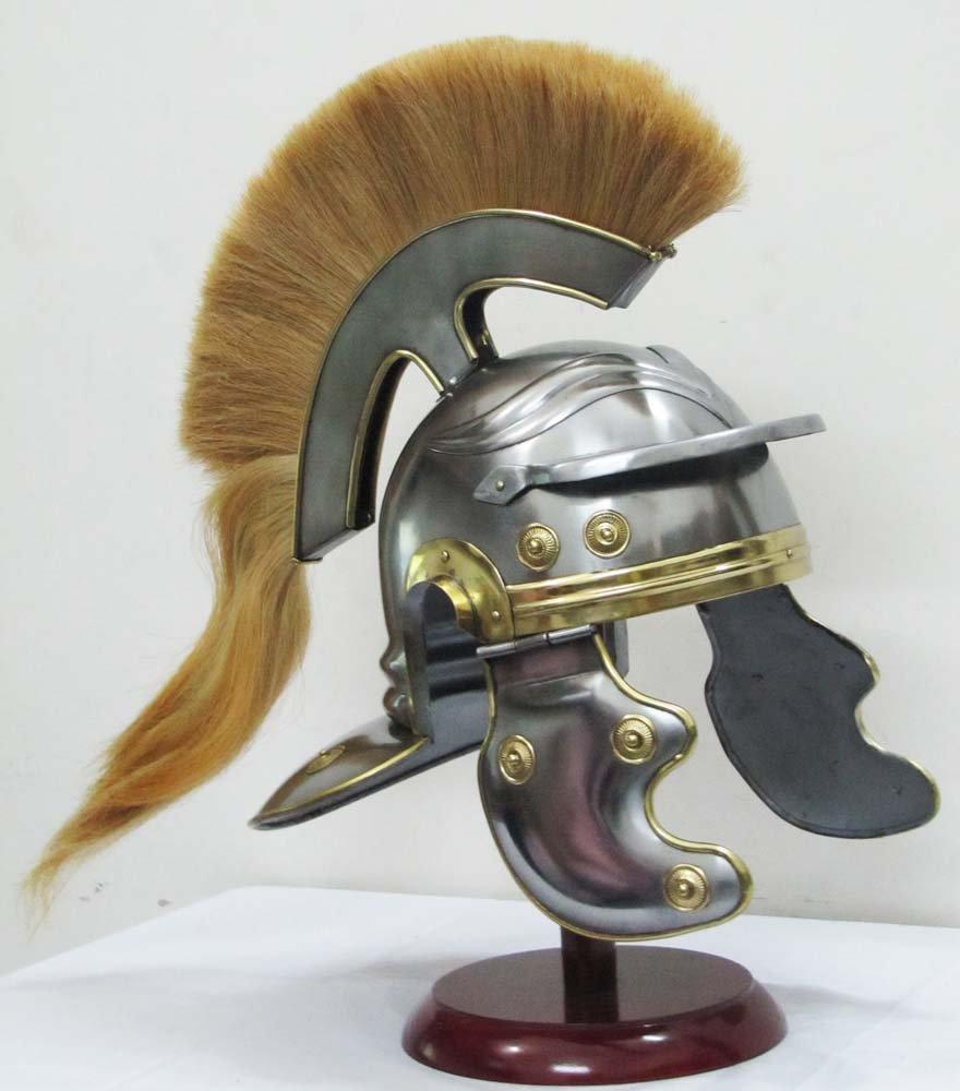 Roman Centurion Medieval Helmet Officer Armor Warrior Helmet Leather Liner with Yellow Plume by Shiv Shakti Enterprises