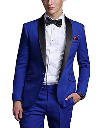 a8a96935c2 YSMO Men's Royal Blue Men Suit Shawl Lapel 2 Pieces Wedding Suits Groom  Tuxedos at Amazon Men's Clothing store: