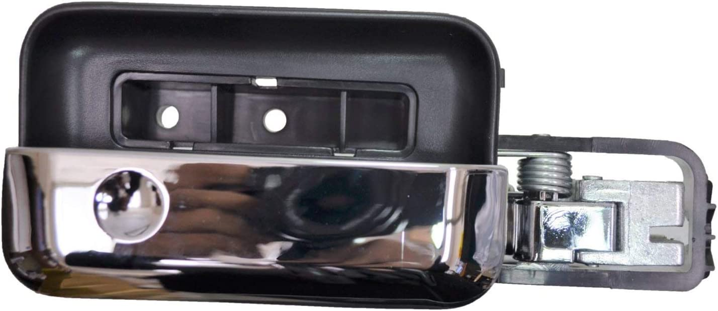 without Power Door Lock Black Housing with Chrome Lever PT Auto Warehouse FO-2505MA-FL Inside Interior Inner Door Handle Driver Side