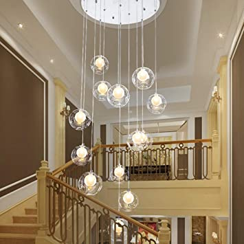 Lámpara de escalera de bola de cristal transparente de 12 luces Lámpara de araña de escalera creativa moderna Lámpara nórdica Villa larga minimalista for sala de estar Dormitorio Personalidad Lámpara: Amazon.es: Hogar