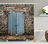 Rustic Decor Shower Curtain Set By Ambesonne, Stone Wall Of Dated Colored Closed Barn Gothic Medieval European Urban City Town Scenery, Bathroom Accessories, 69W X 70L Inches, Blue Grey