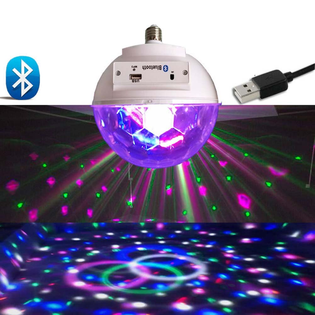 Qjoy LED Bluetooth Speaker Light Bulb Music USB Portable RGB for Party Home Bedroom