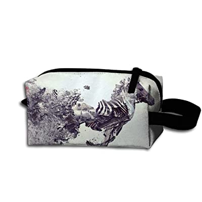 Travel Bag Abstract Oil Horse Paintings Toiletry Bag Clash Durable Zipper Wallet Makeup Handbag With Wrist Band