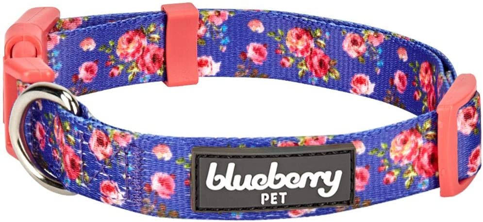 Blueberry Pet 10 Patterns Spring Scent Floral Dog Collars, Personalized Collars