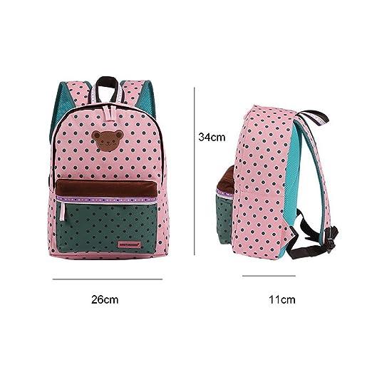 Panegy - Enfants Sac à dos cartable pour Fille Sac à dos scolaire Sac de voyage avec bandoulière réglable Sac imprimé à pois - Violet be4PFE