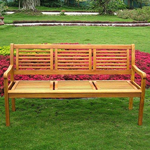 3 Seat Teak Bench - International Caravan TT-3B-053-IC Furniture Piece Royal Tahiti Bar Harbor Three Seat Bench