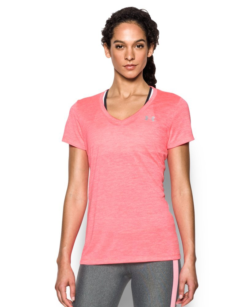 Under Armour Women's Tech Twist V-Neck, Brilliance/Metallic Silver, X-Small
