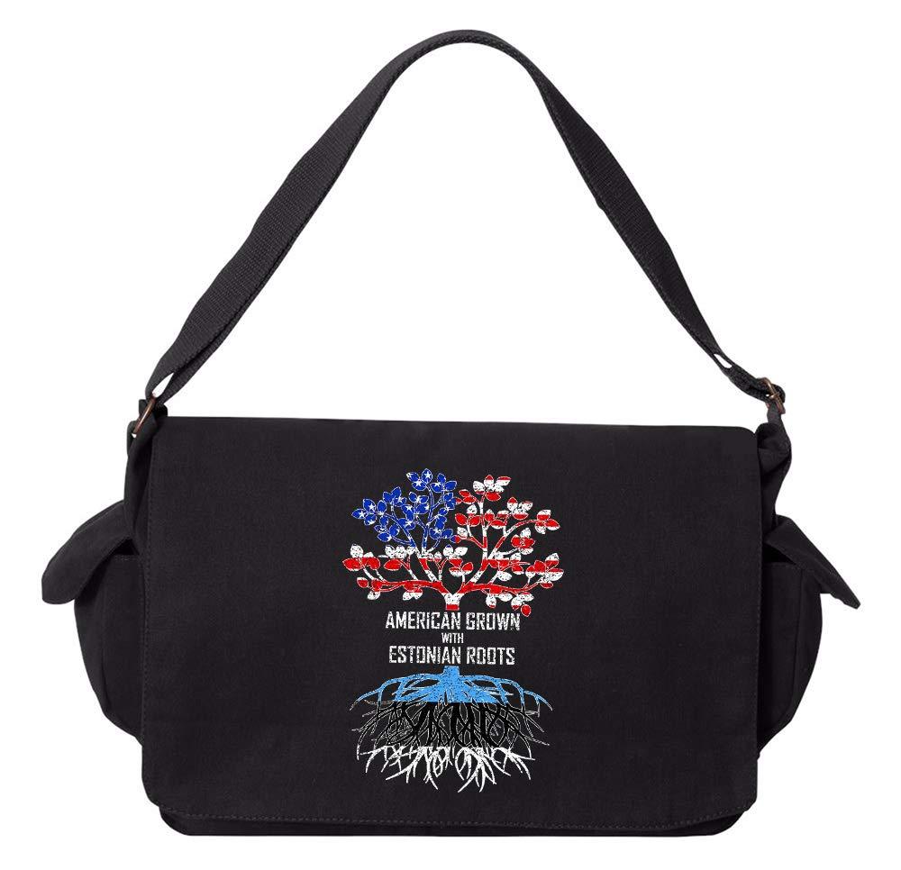 Tenacitee American Grown with Estonian Roots Grey Brushed Canvas Messenger Bag