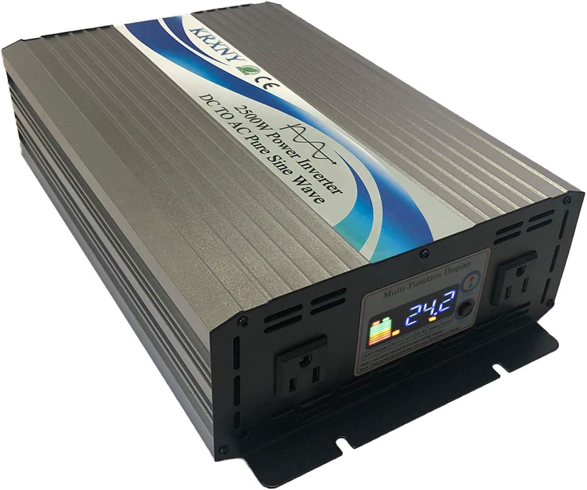 KRXNY 2500W 24V DC to 110V 120V AC 60HZ Pure Sine Wave Power Inverter for Car Home Solar System