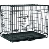 Homes for Pets Dog Crate, Indoor & Outdoor Dog Cages, Single Door Folding Metal Dog Cage or Pet Kennel with TrayPet…