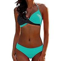 CheChury Bikinis Mujer 2020 Push Up Halter Bikini Traje de baño Acolchado Bra Tops y Braguitas Bikini Sets Talla Grande…