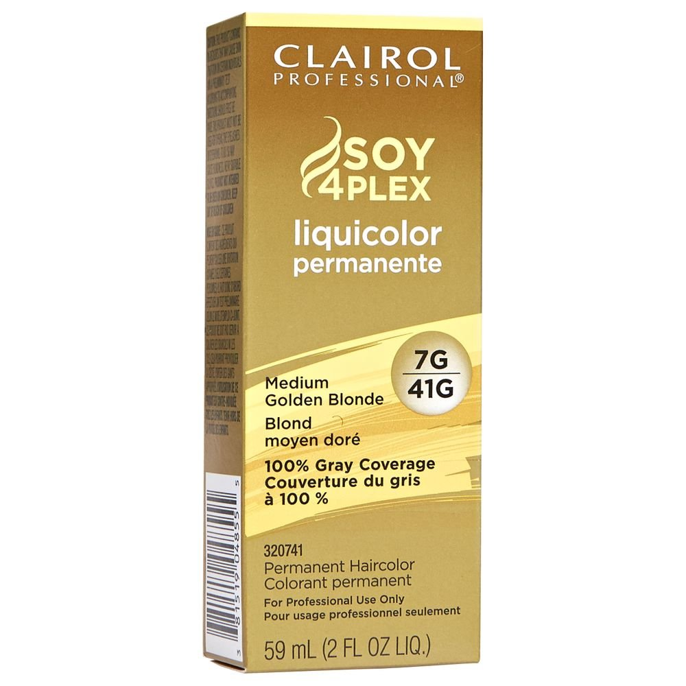 (VALUE PACK OF 3) CLAIROL PROFESSIONAL SOY4PLEX LiquiColor Permanent Hair Color #7G/41G MEDIUM GOLDEN BLONDE by CLAIROL PROFESSIONAL SOY4PLEX (Image #1)