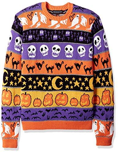 Blizzard Man Costume (Blizzard Bay Men's Halloween Stripes Crew Neck, Orange/Purple Combo, L)