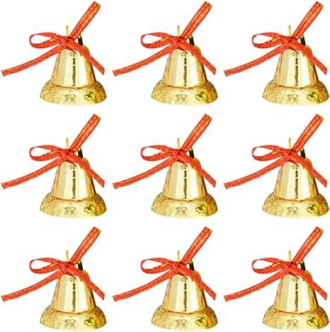 9Pcs Christmas Mini Gold Bells Hanging Ornaments Home Party Xmas Tree Decor Gift