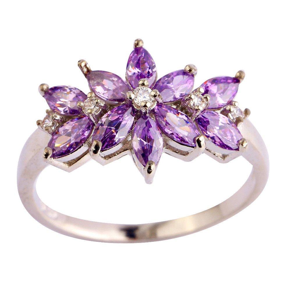 Cherryn Jewelry Purple CZ G Plated Silver 10 women womens engagement rings