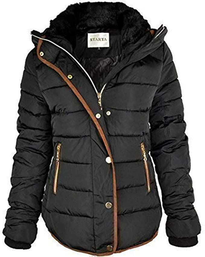 great deals best aliexpress Fashion Thirsty Womens Ladies Quilted Winter Coat Puffer Fur Collar Hooded  Jacket Parka Size New