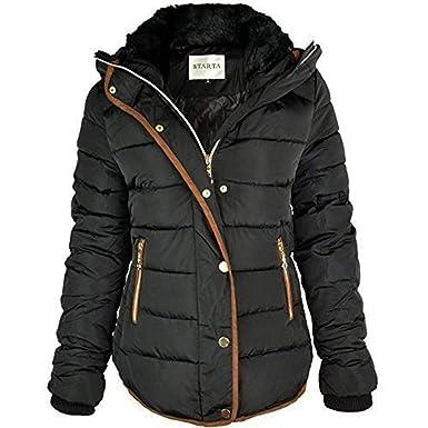 new arrival 8139a b3288 Fashion Thirsty Damen Winterjacke Fell Kragen Kapuzen Parka Jacke
