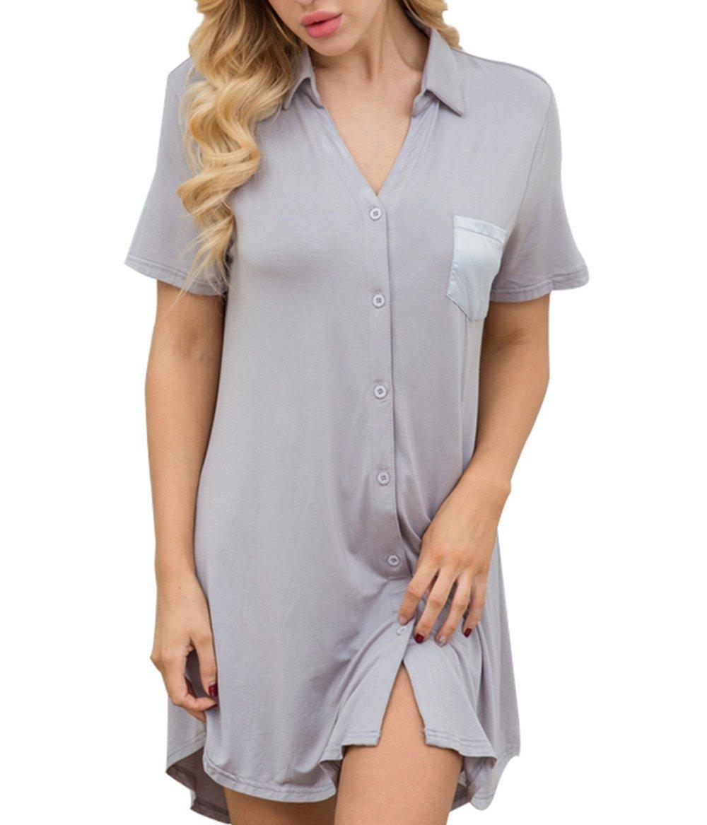 Ekouaer Womens Basic Short Sleeve Cotton Button-Front Sleep Shirt Dress (Gray M)