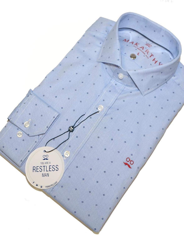 MAKARTHY - Camisa Estampada Flor Hombre Color: 363 Marino Talla: Size M: Amazon.es: Ropa y accesorios
