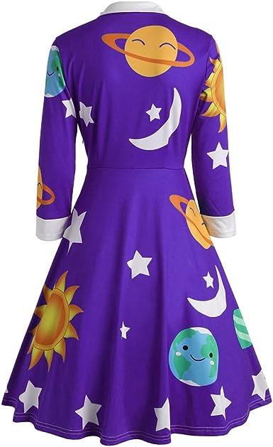 Vestito da donna con colletto Peter Pan ZEZCLO luna e stella manica lunga stampa al sole