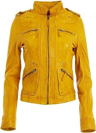 Jacket Leather S Women Womens Yellow Motorcycle Vintage Coat M Size Biker Moto 1