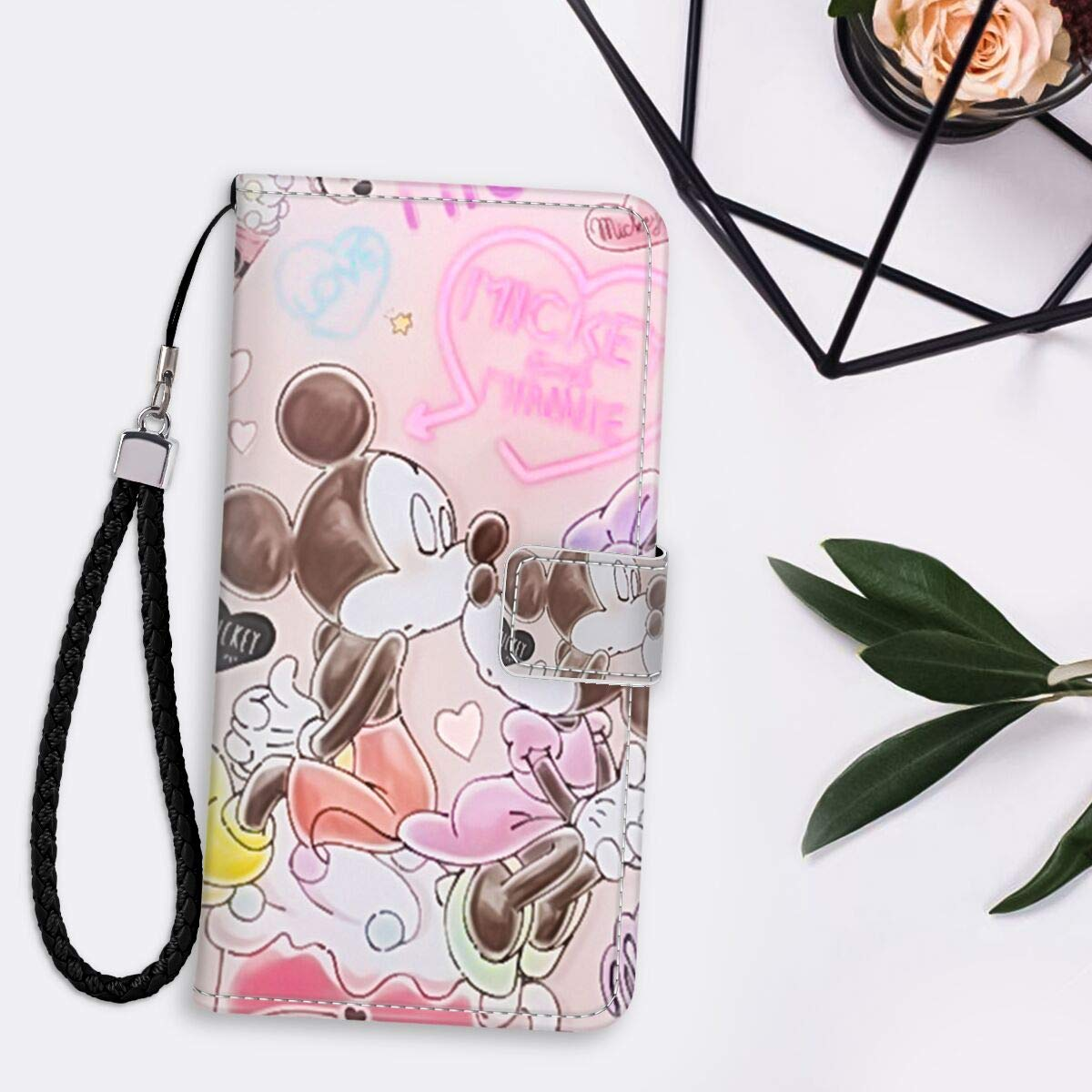 DISNEY COLLECTION Wallet Case with Strap with Kickstand Compatible with Apple iPhone 11 Pro Max (6.5-Inch) Intimate Mickey and Minnie Fashionable