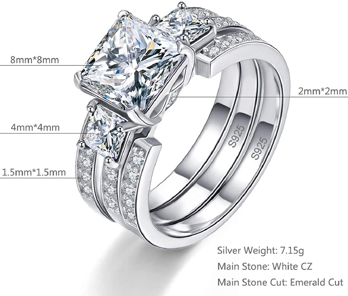 BONLAVIE Promise Silver Rings for Her Engagement Rings Past Present Future Cubic Zirconia Wedding Bridal Set Wedding Band Stackable Size 5-10