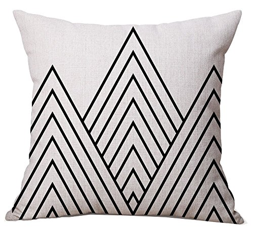 BLUETTEK Modern Simple Geometric Style Soft Linen Burlap Square Throw Pillow Covers, 18 x 18 Inches (Black Striped Mountain) (Throw Black And Ivory Pillows)