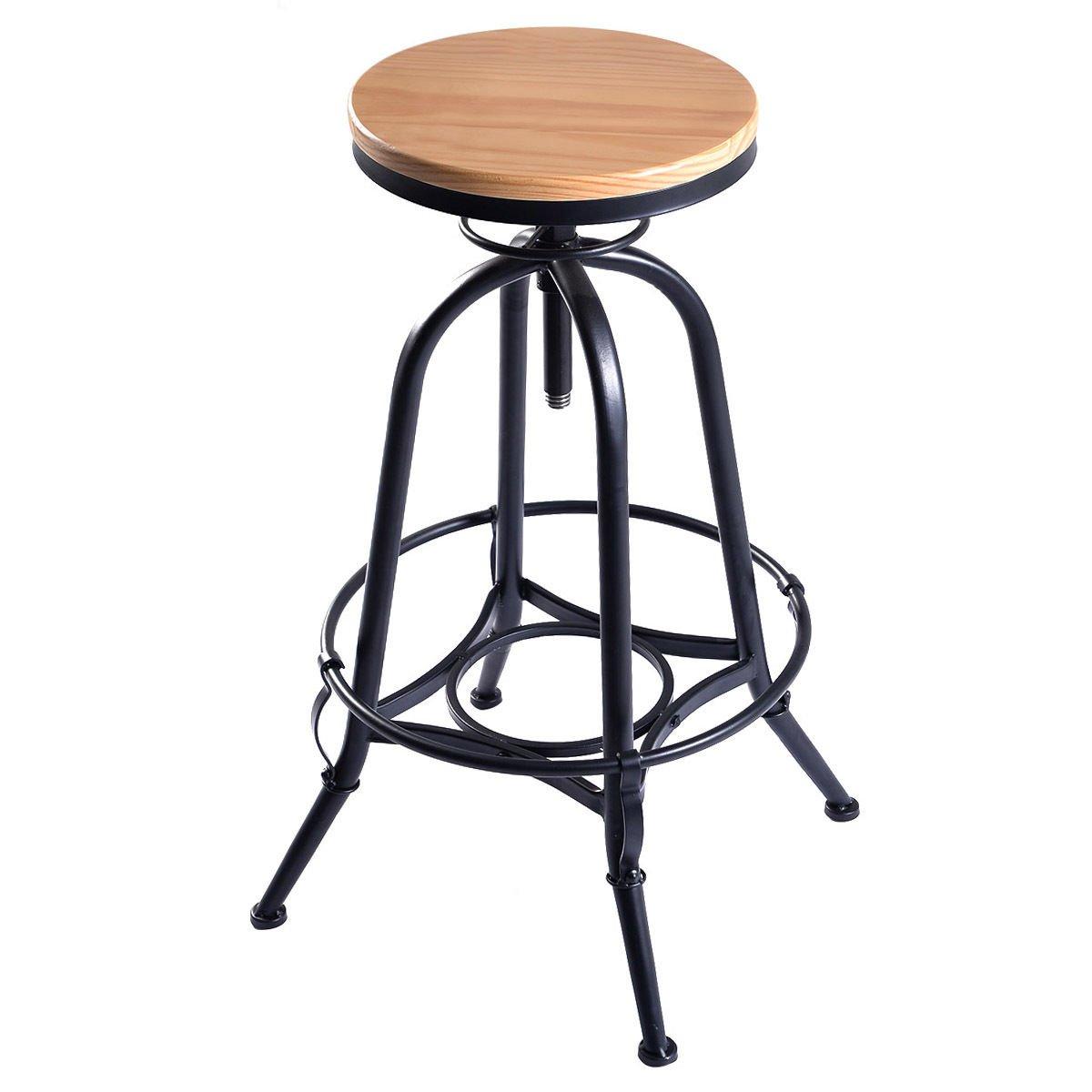 New Vintage Bar Stool Industrial Metal Design Wood Top Adjustable Height Swivel