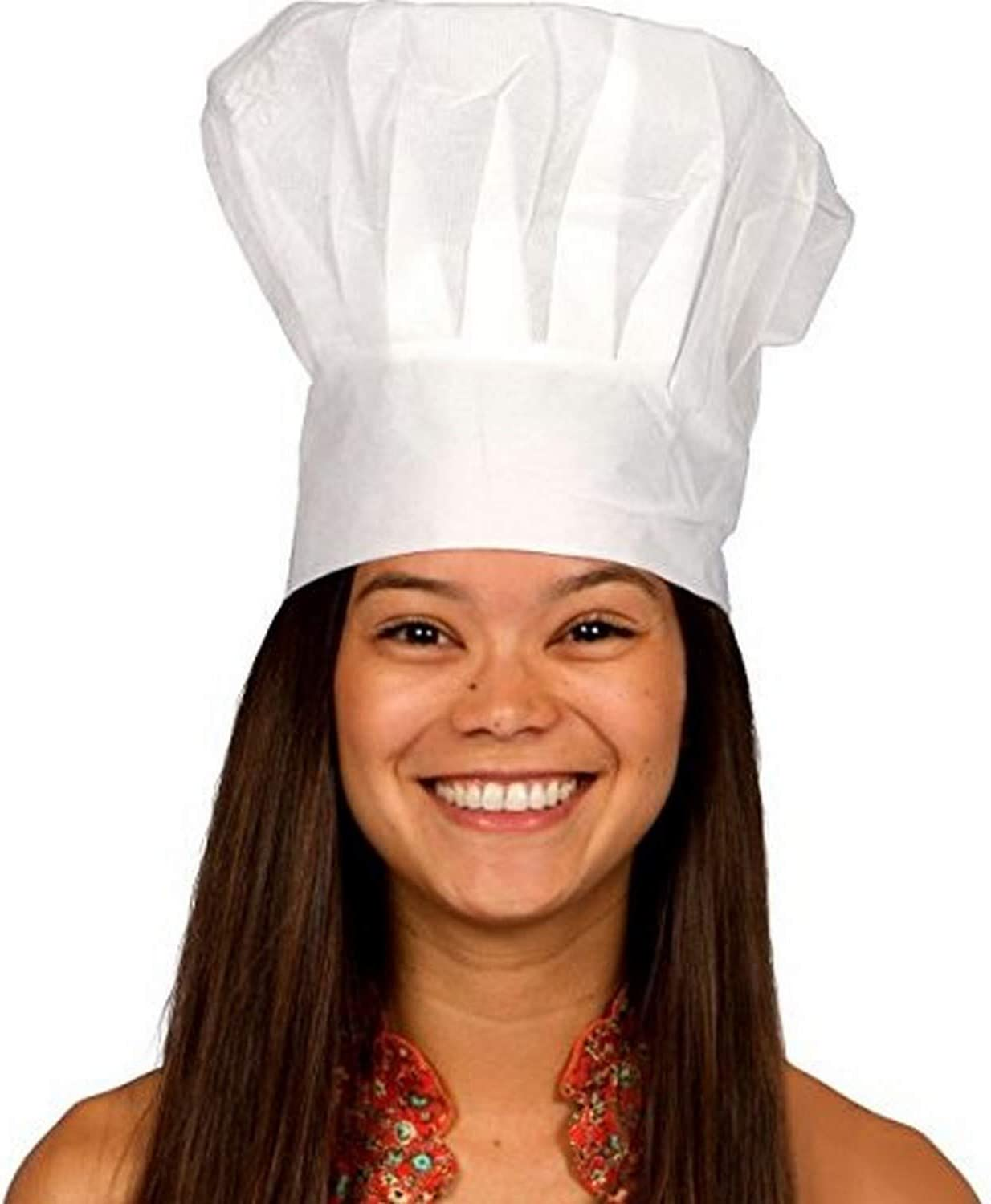 CHEF TALL HAT WHITE ADULT UNISEX PROFESSIONAL CHEFS HAT FANCY DRESS ACCESSORY