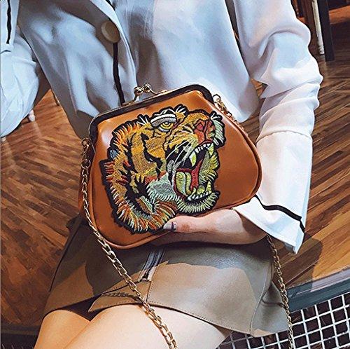 Handbag Bolsa de Cadena, Bolso Cuadrado Pequeño, Bolso de Hombro, Embrague Coreano de Moda. A+ (Color : Negro) Naranja