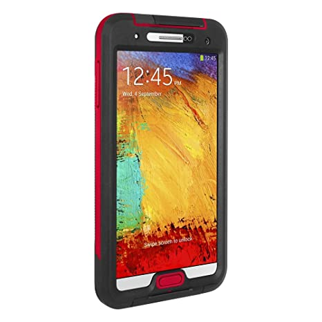 Seidio OBEX Waterproof Case for Samsung Galaxy Note 3 - Retail Packaging - Black with Red