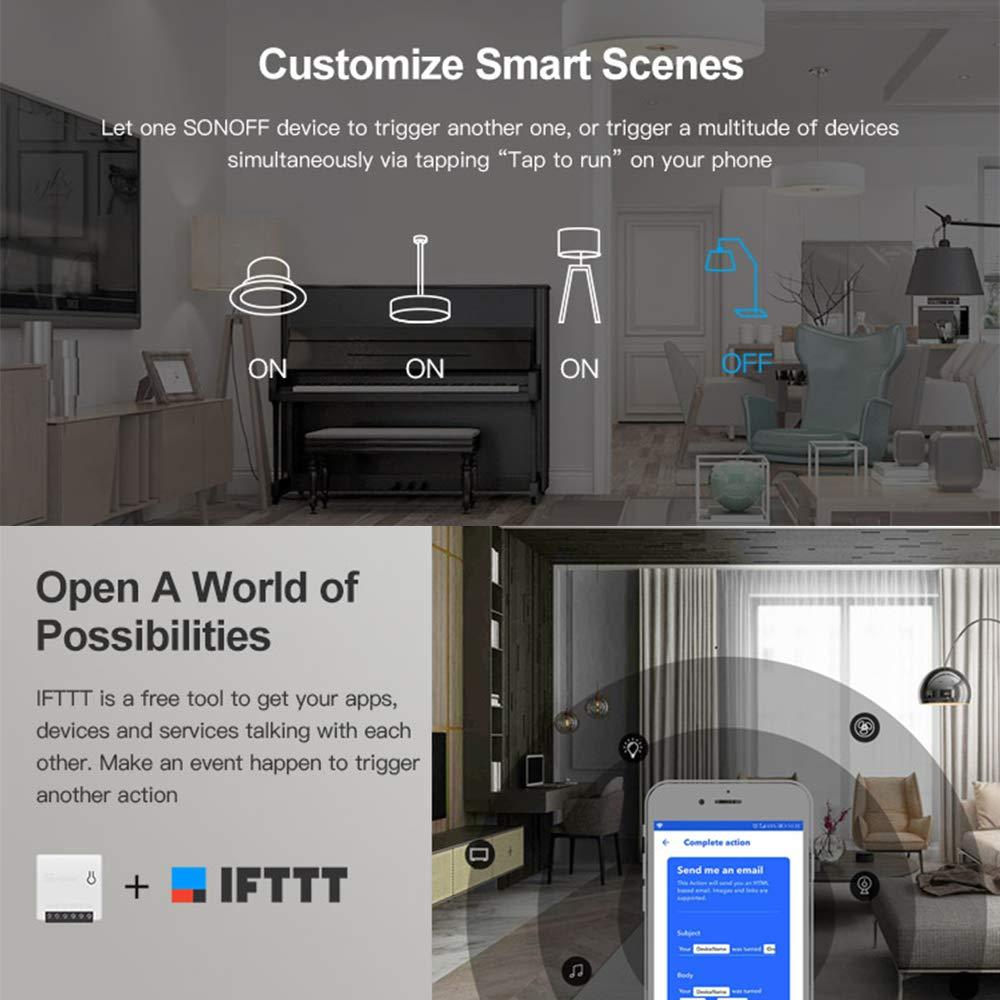 OWSOO 2PCS Interruttore SONOFF MINI Fai-da-te Smart Switch Piccolo corpo Telecomando Interruttore WiFi Supporto Interruttore esterno Funziona con Google Home//Nest IFTTT e Alexa